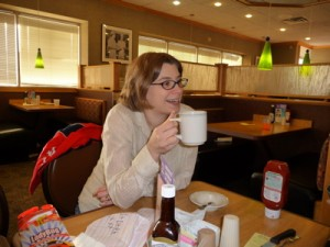 Emma having a coffee at Old Country Buffet