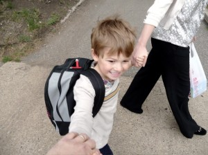 Walking to kindergarten