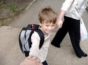 Walking to kindergarten
