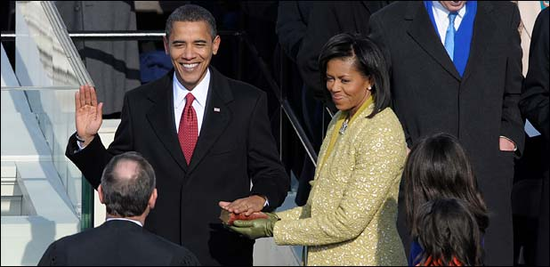 Barack Obama takes the Presidential Oath of office.